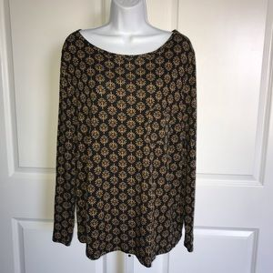 Boden Sabrina Top Black Tan Print Long Sleeve 16